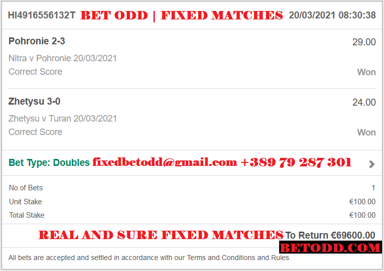 BET ODD DOUBLE CORRECT SCORE FIXED MATCHES