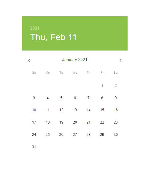 Calendar after the customization