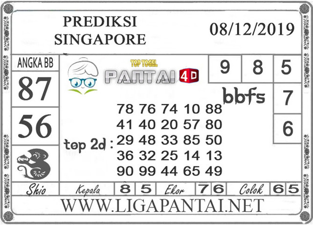 PREDIKSI TOGEL SINGAPORE PANTAI4D 08 DESEMBER 2019