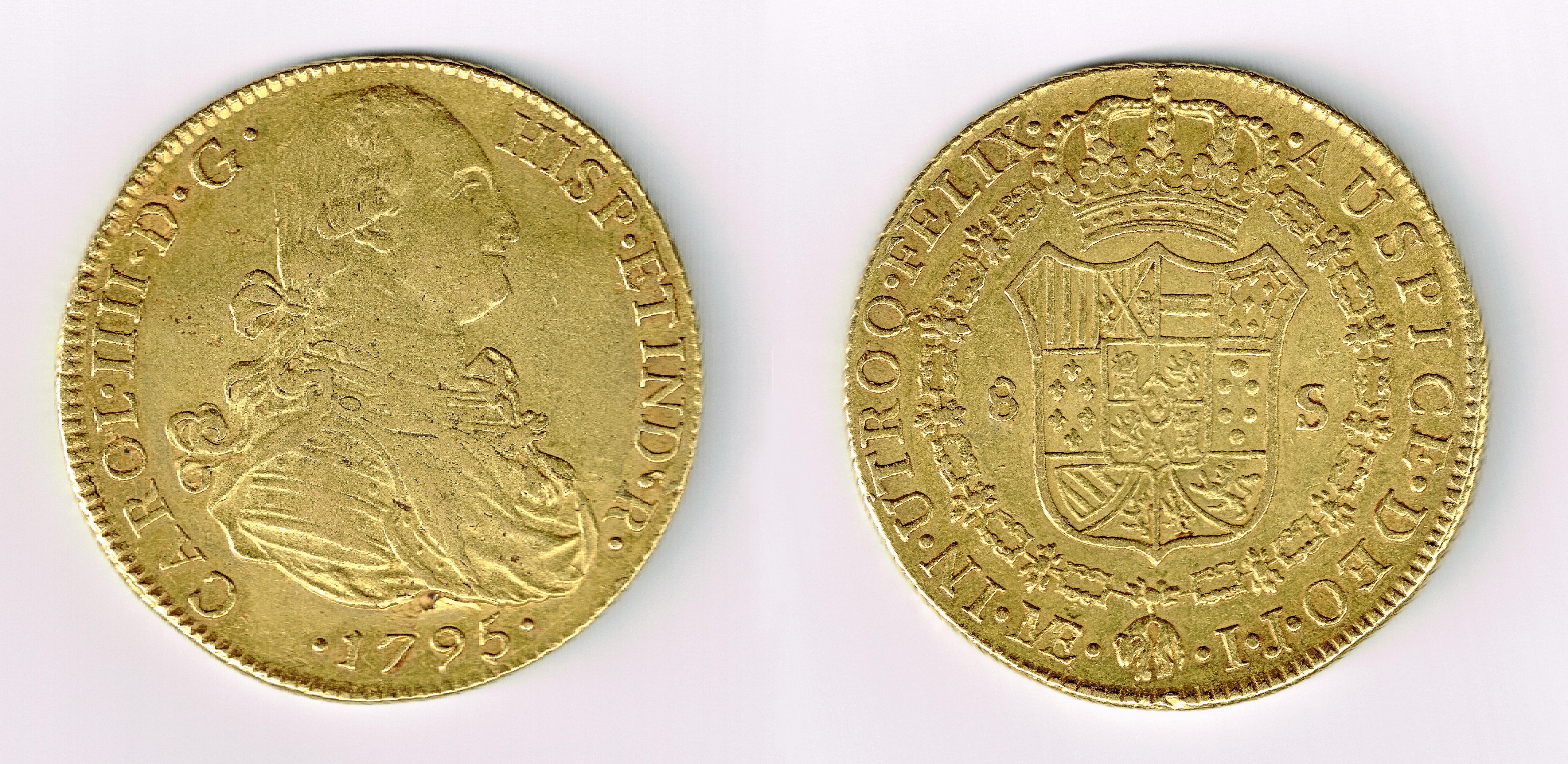 8 Escudos 1795. Carlos IV. Lima. Ayuda Montaje-copia