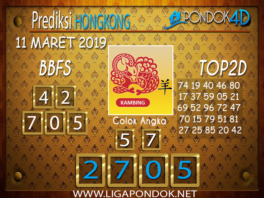 Prediksi Togel HONGKONG PONDOK4D 11 MARET 2019
