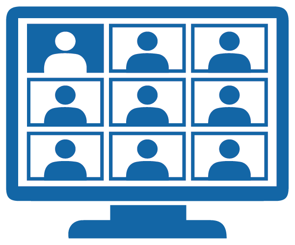 Icon depicting a virtual meeting on a computer screen