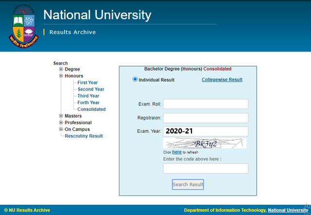NU Honours 1st Year Admission Result 2021