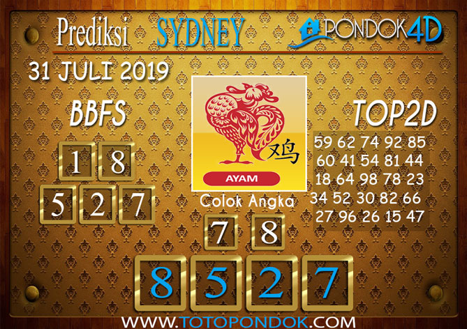 Prediksi Togel SYDNEY PONDOK4D 31 JULI 2019