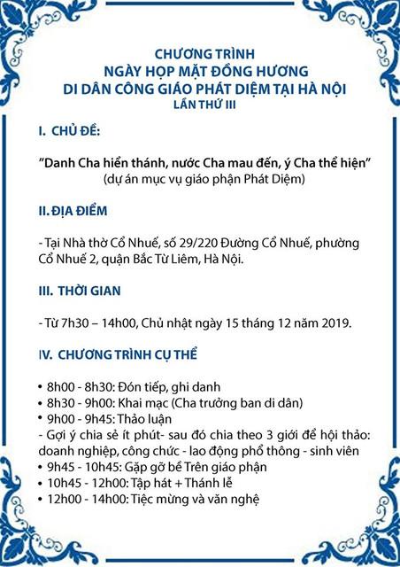 Thư mời: Họp mặt Đồng hương-Di dân Công giáo Phát Diệm tại Hà Nội lần III