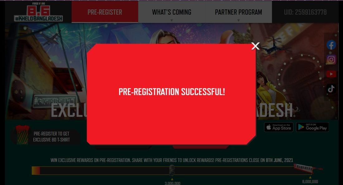 Free Fire Pre-registration Successful