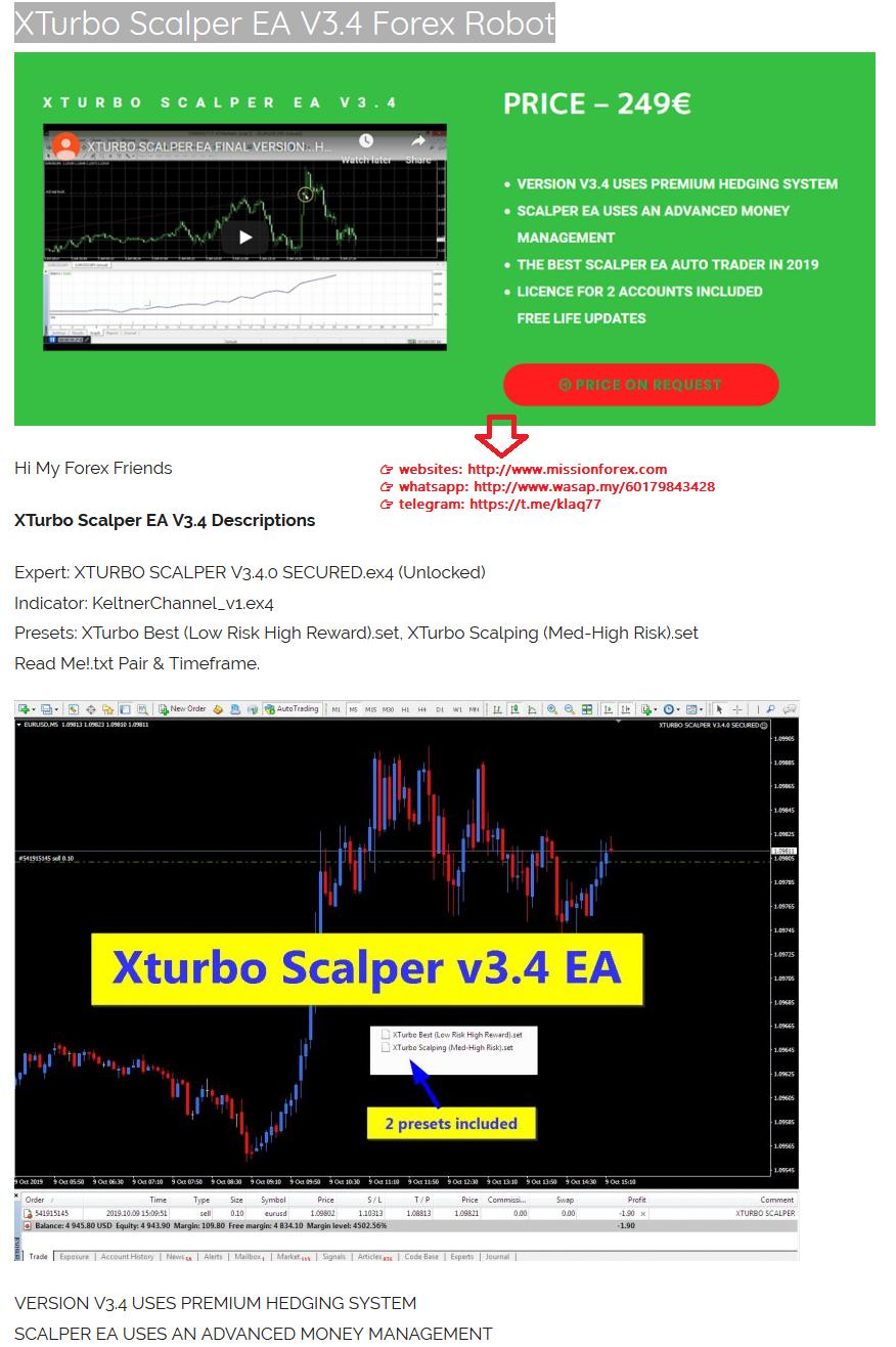 XTurbo Scalper EA V3.4 Forex Robot