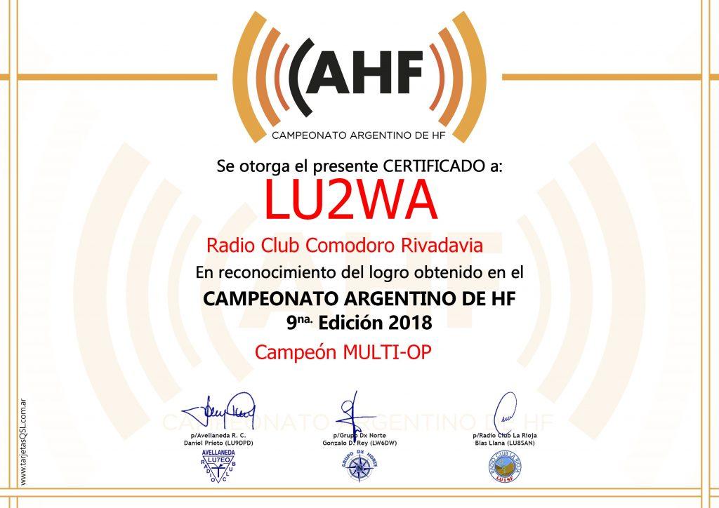 LU2WA Campeón Multioperador CAHF 2018