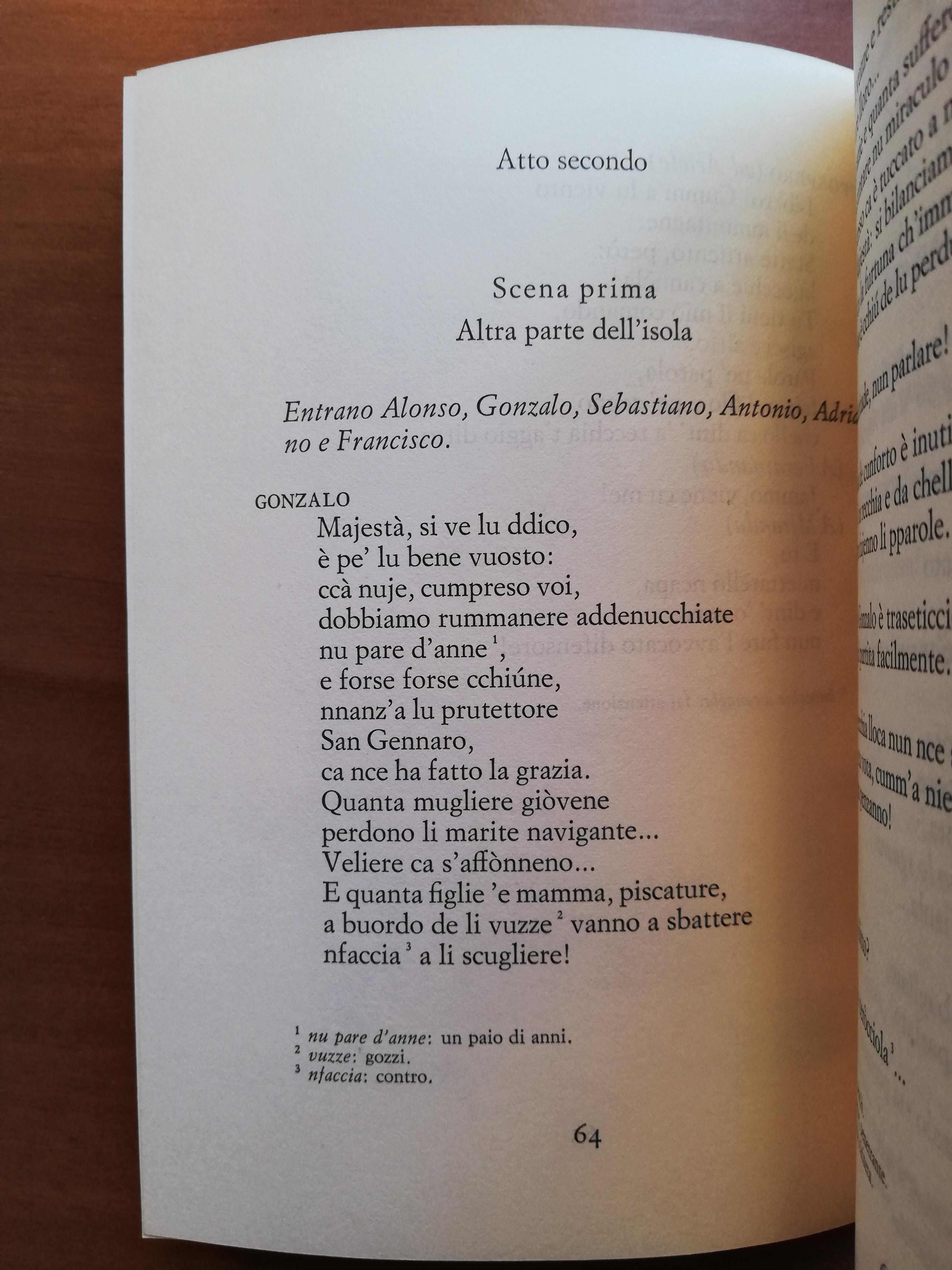 La tempesta di William Shakespeare nella traduzione in napoletano di Eduardo De Filippo