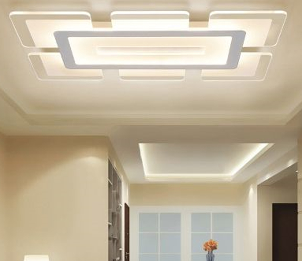 Rectangular LED Flush Light Minimalist Acrylic Ultrathin Ceiling Lamp in Warm/White for Dining Room - Beautifulhalo.com