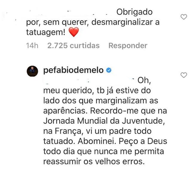 """Padre Fábio de Melo faz tatuagem e recebe críticas na internet; """"isso é coisa do diabo"""" 5"""