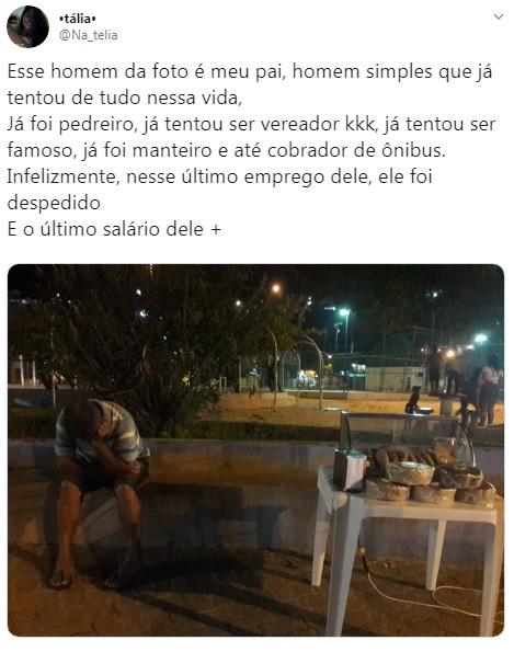 Filha publica foto de pai triste com nenhuma venda de salgados e caso viraliza; entenda 2