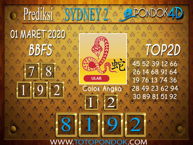 Prediksi Togel SYDNEY 2 PONDOK4D 01 MARET 2020