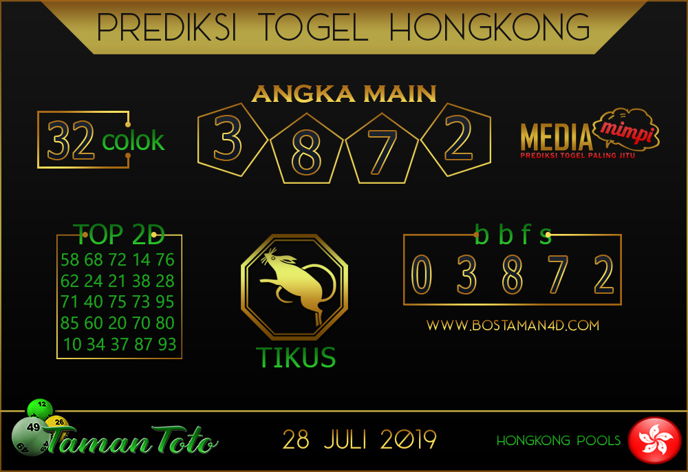 Prediksi Togel HONGKONG TAMAN TOTO 28 JULI 2019