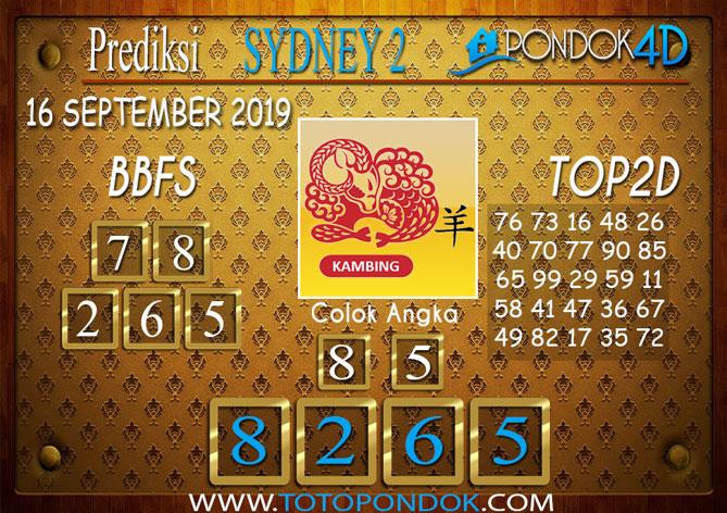 Prediksi Togel SYDNEY 2 PONDOK4D 16 SEPTEMBER 2019