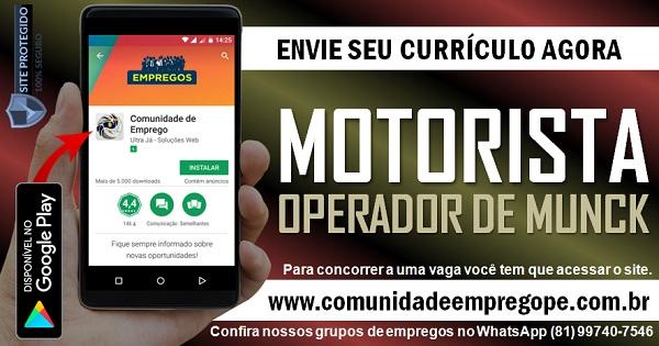 MOTORISTA OPERADOR DE MUNCK, 02 VAGAS PARA EMPRESA DE CONSTRUÇÃO CIVIL