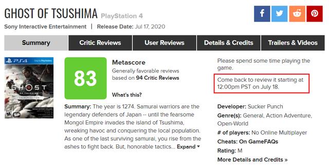 評分網站Metacritic表示他們修改了玩家評分機制,之後如果玩家想給剛剛發售的遊戲打分,需要等遊戲發售後36個小時。 Image