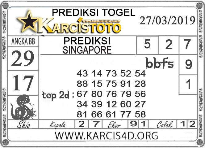 Prediksi Togel SINGAPORE KARCISTOTO 27 MARET 2019