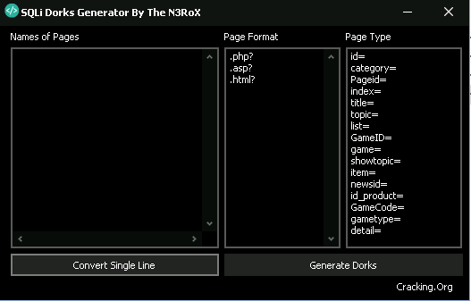 SQLi Dork's Generator By The N3RoX