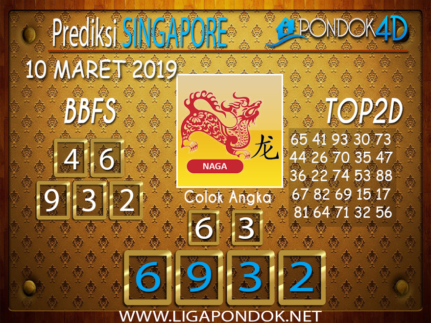 Prediksi Togel  SINGAPORE  PONDOK4D 10 MARET 2019