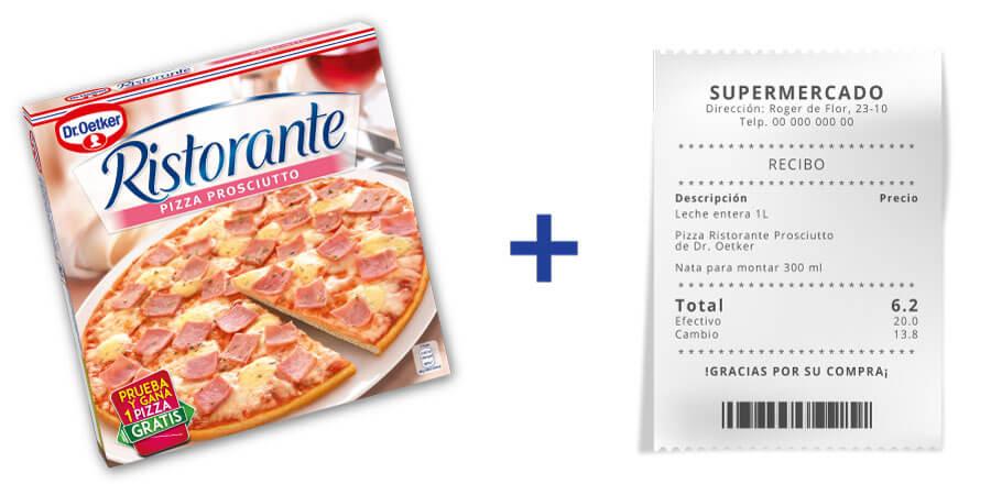 Fotografía tu pack Ristorante con flash promocional junto con el ticket de compra y recibirás un cupón para que disfrutes de una pizza Ristorante gratis.