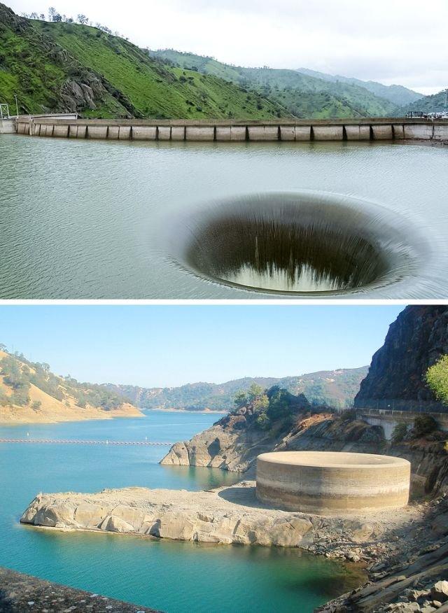 Водосброс на плотине в Калифорнии