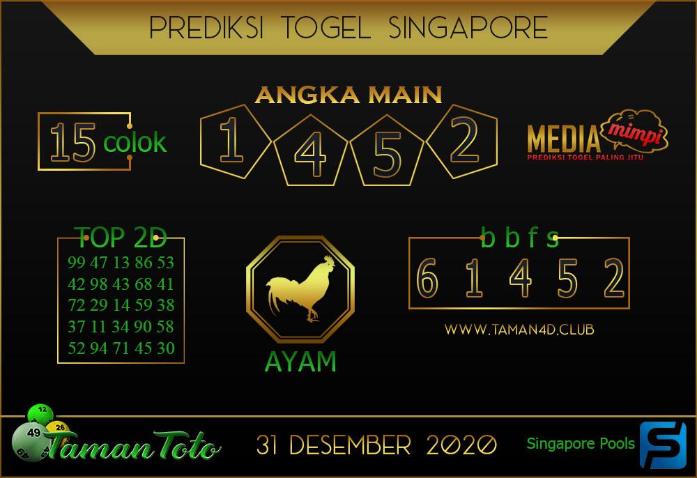 Prediksi Togel SINGAPORE TAMAN TOTO 31 DESEMBER 2020