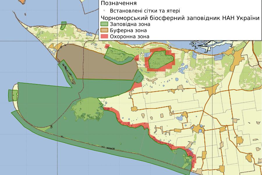 Рис. 9. Розміщення рибальських снастей в акваторіях Чорноморського біосферного заповідника