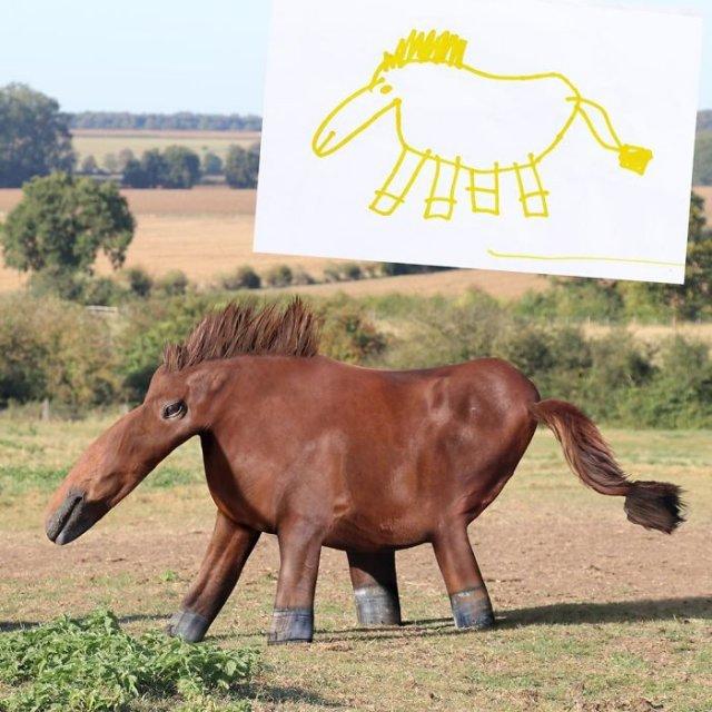 Как выглядели бы животные, созданные по детским рисунком